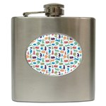 Blue Colorful Cats Silhouettes Pattern Hip Flask (6 oz)