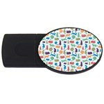 Blue Colorful Cats Silhouettes Pattern USB Flash Drive Oval (2 GB)