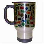 Blue Colorful Cats Silhouettes Pattern Travel Mug (Silver Gray)