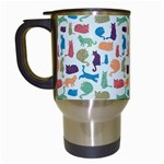 Blue Colorful Cats Silhouettes Pattern Travel Mugs (White)