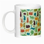 Blue Colorful Cats Silhouettes Pattern Night Luminous Mugs