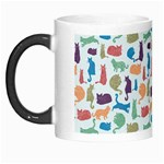 Blue Colorful Cats Silhouettes Pattern Morph Mugs