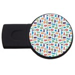 Blue Colorful Cats Silhouettes Pattern USB Flash Drive Round (4 GB)