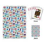 Blue Colorful Cats Silhouettes Pattern Playing Card