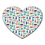 Blue Colorful Cats Silhouettes Pattern Heart Mousepads