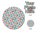 Blue Colorful Cats Silhouettes Pattern Multi-purpose Cards (Round)