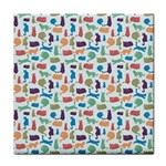 Blue Colorful Cats Silhouettes Pattern Face Towel