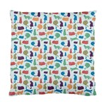 Blue Colorful Cats Silhouettes Pattern Standard Cushion Case (One Side)
