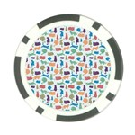 Blue Colorful Cats Silhouettes Pattern Poker Chip Card Guards (10 pack)