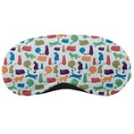 Blue Colorful Cats Silhouettes Pattern Sleeping Masks