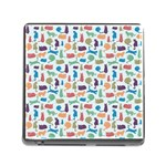 Blue Colorful Cats Silhouettes Pattern Memory Card Reader (Square)