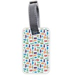 Blue Colorful Cats Silhouettes Pattern Luggage Tags (One Side)