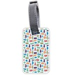 Blue Colorful Cats Silhouettes Pattern Luggage Tags (Two Sides)