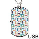 Blue Colorful Cats Silhouettes Pattern Dog Tag USB Flash (Two Sides)