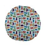 Blue Colorful Cats Silhouettes Pattern Standard 15  Premium Round Cushions