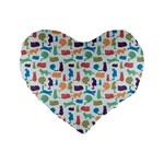 Blue Colorful Cats Silhouettes Pattern Standard 16  Premium Heart Shape Cushions