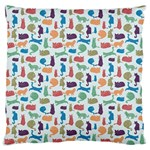 Blue Colorful Cats Silhouettes Pattern Standard Flano Cushion Cases (One Side)