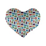 Blue Colorful Cats Silhouettes Pattern Standard 16  Premium Flano Heart Shape Cushions