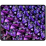 Blue purple Shattered Glass Double Sided Fleece Blanket (Medium)