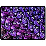 Blue purple Shattered Glass Double Sided Fleece Blanket (Large)