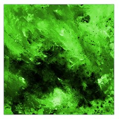 Bright Green Abstract Large Satin Scarf (square)