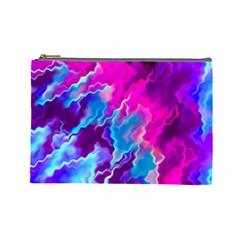 Stormy Pink Purple Teal Artwork Cosmetic Bag (large)  by KirstenStar