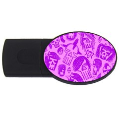 Purple Skull Sketches Usb Flash Drive Oval (2 Gb)  by ArtistRoseanneJones