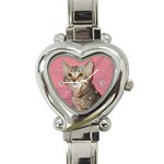 Adorable Kitten Heart Italian Charm Watch
