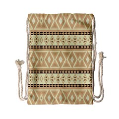 Fancy Tribal Border Pattern Beige Drawstring Bag (small) by ImpressiveMoments