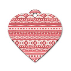 Fancy Tribal Borders Pink Dog Tag Heart (two Sides) by ImpressiveMoments