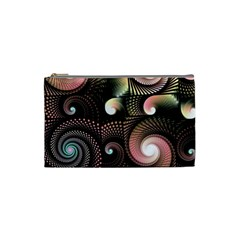 Peach Swirls On Black Cosmetic Bag (small)  by KirstenStar