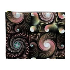 Peach Swirls On Black Cosmetic Bag (xl) by KirstenStar