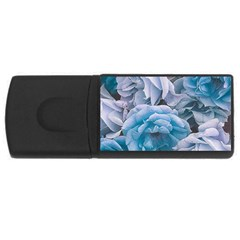Great Garden Roses Blue Usb Flash Drive Rectangular (4 Gb)  by MoreColorsinLife