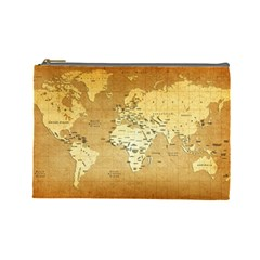 World Map Cosmetic Bag (large)  by emkurr