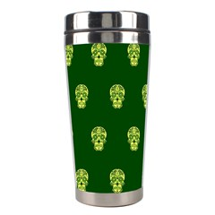 Skull Pattern Green Stainless Steel Travel Tumblers by MoreColorsinLife
