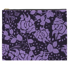 Floral Wallpaper Purple Cosmetic Bag (xxxl)  by ImpressiveMoments