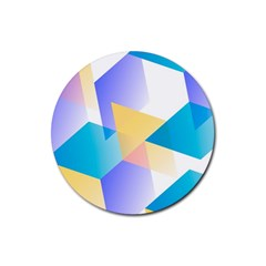 Geometric 03 Blue Rubber Coaster (round)  by MoreColorsinLife