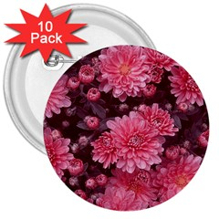 Awesome Flowers Red 3  Buttons (10 Pack)