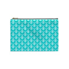 Awesome Retro Pattern Turquoise Cosmetic Bag (medium)  by ImpressiveMoments