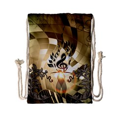 Clef With  And Floral Elements Drawstring Bag (small) by FantasyWorld7