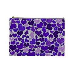 Sparkling Hearts Blue Cosmetic Bag (large)  by MoreColorsinLife