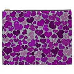 Sparkling Hearts Purple Cosmetic Bag (xxxl)  by MoreColorsinLife