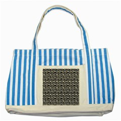 Black And White Owl Pattern Striped Blue Tote Bag