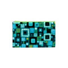 Teal Squares Cosmetic Bag (xs) by KirstenStar