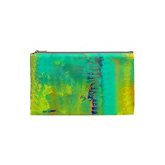 Abstract In Turquoise, Gold, And Copper Cosmetic Bag (small)  by digitaldivadesigns