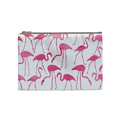 Pink Flamingos Pattern Cosmetic Bag (medium)  by Patterns