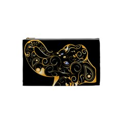 Beautiful Elephant Made Of Golden Floral Elements Cosmetic Bag (small)  by FantasyWorld7