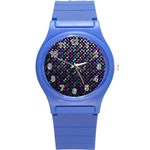 Polka Dot Sparkley Jewels 2 Round Plastic Sport Watch (S)