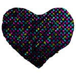 Polka Dot Sparkley Jewels 2 Large 19  Premium Heart Shape Cushions