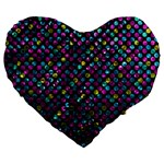 Polka Dot Sparkley Jewels 2 Large 19  Premium Flano Heart Shape Cushions